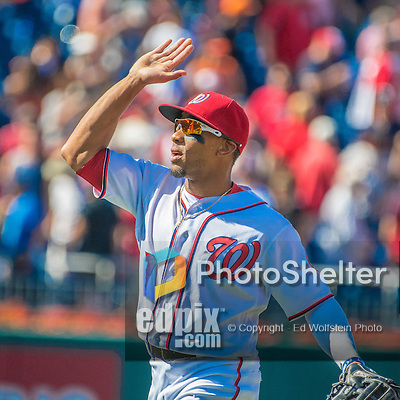 7 August 2016: Washington Nationals outfielder Ben Revere celebrates after a game against the San Francisco Giants at Nationals Park in Washington, DC. The Nationals shut out the Giants 1-0 to take the rubber match of their 3-game series. Mandatory Credit: Ed Wolfstein Photo *** RAW (NEF) Image File Available ***