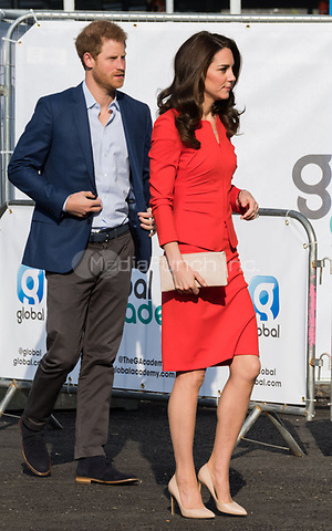 HAYES, UNITED KINGDOM - APRIL 20: Prince Harry &amp; Catherine, Duchess of Cambridge  attends the official opening of The Global Academy in support of Heads Together on April 20, 2017 in Hayes, England. <br /> CAP/JOR<br /> &copy;JOR/Capital Pictures /MediaPunch ***NORTH AND SOUTH AMERICAS ONLY***