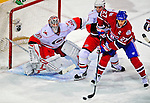 21 December 2008: Carolina Hurricanes' goaltender Cam Ward holds off Montreal Canadiens' right wing forward Alexei Kovalev from Russia during the third period at the Bell Centre in Montreal, Quebec, Canada. The Hurricanes defeated the Canadiens 3-2 in overtime. ***** Editorial Sales Only ***** Mandatory Photo Credit: Ed Wolfstein Photo