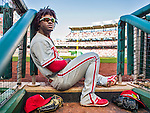 23 May 2015: Philadelphia Phillies outfielder Odubel Herrera sits on the dugout steps during a game against the Washington Nationals at Nationals Park in Washington, DC. The Phillies defeated the Nationals 8-1 in the second game of their 3-game weekend series. Mandatory Credit: Ed Wolfstein Photo *** RAW (NEF) Image File Available ***
