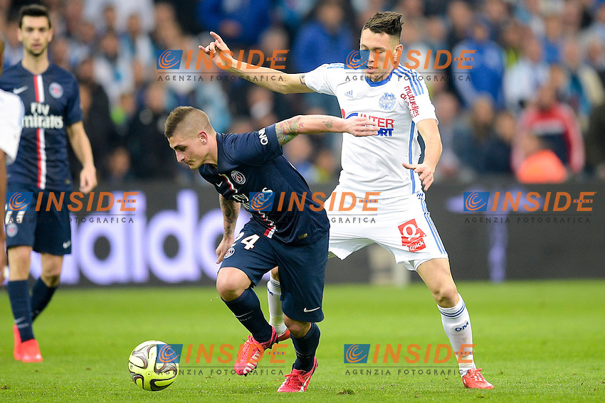 Lucas OCAMPOS (OM) vs Marco Verratti (PSG) <br /> Football Calcio 2014/2015<br /> Ligue 1 Francia Stadio VelodromeOlympique Marsiglia - Paris Saint Germain <br /> Foto Panoramic / Insidefoto <br /> ITALY ONLY