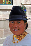 South America, Ecuador, Quito. Quechuan woman in Quito.