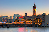 The Erie Lackawanna Terminal and Clock Tower during twilight, Hoboken, New Jersey.