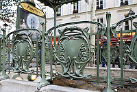 """Subway station """" Abbesses """" with shelter of roof, 1900, Paris18th, France, built by architect Hector Guimard (Lyon, 1867 - New York, 1942) Picture by Manuel Cohen"""