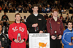 12 MAR 2011: Michael Lybarger of Findlay (in white and orange) on the podium with his award after defeating Zach McKendree of Gannon during the Division II Men's Wrestling Championship held at the UNK Health and Sports Center on the University of Nebraska - Kearney campus in Kearney, NE. Lybarger defeated McKendree 3-1 to win the 165-lb national title.  Scott Anderson/NCAA Photos