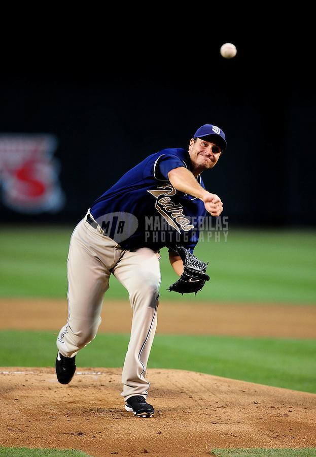 Apr. 6, 2010; Phoenix, AZ, USA; San Diego Padres pitcher Chris Young throws in the first inning against the Arizona Diamondbacks at Chase Field. Mandatory Credit: Mark J. Rebilas-