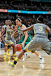 03 APR 2012:  Kayla McBride (23) of the University of Notre Dame drives towards the basket between Jordan Madden (3) and Kimetria Hayden (1) of Baylor University during the Division I Women's Basketball Championship held at the Pepsi Center in Denver, CO.  Jamie Schwaberow/NCAA Photos