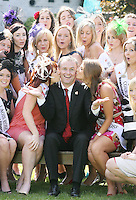 17/8/2010. 2010 Rose of Tralee visit RTE. Dáithí O Sé is pictured getting a kiss from the Dublin Rose Niamh Sherlock and The Washington Rose Katherine Walsh with 30 other Irish and International Roses at the RTÉ studios in Donnybrook Dublin. The Rose of Tralee International Festival, which runs from Friday 20th to Tuesday 24th of August, culminates in the live televised International Rose Selection on RTÉ One, hosted for the first time by Dáithí O Sé. The show will be broadcast from 8pm on Monday and Tuesday the 23rd and 24th of August, with a break for the Nine O' Clock News on both nights. The show will also be streamed live around the world at www.rte.ie. Picture James Horan/Collins Photos