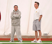 Washington Redskins owner Daniel Snyder, left, and General Manager Bruce Allen, right, attend the Washington Redskins' rookie minicamp at Redskins Park in Ashburn, Virginia on Saturday, May 17, 2014.<br /> Credit: Ron Sachs / CNP
