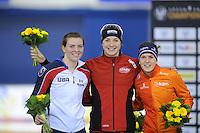 SPEED SKATING: CALGARY: Olympic Oval, 08-03-2015, ISU World Championships Allround, Final Podium Ladies, Heather Richardson (USA), Ida Njåtun (NOR), Ireen Wüst (NED), ©foto Martin de Jong