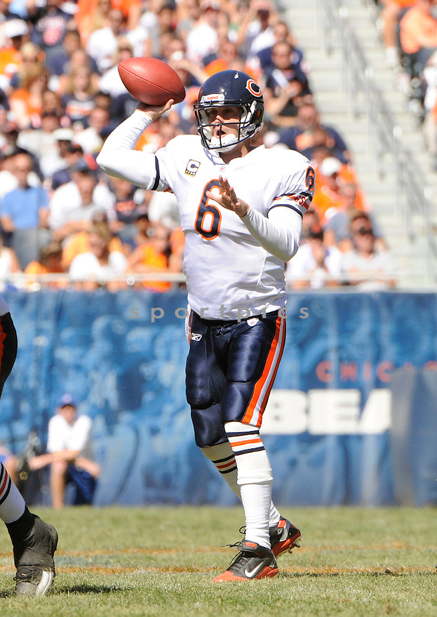 JAY CUTLER, of  the Chicago Bears, in action during the Bears' game against the Detroit Lions at Soldier Field in Chicago, Illinois  on September 12, 2010.   Bears won the game 19-14...
