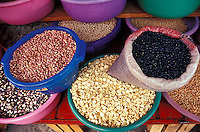 Dried beans and corn for sale in the market in Tepoztlan, Morelos, Mexico. Tepoztlan has been designated a pueblo magico or magical town.