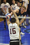 27 APR 2014: Alex McColgin (4) spikes against Springfield College during the Division III Men's Volleyball Championship held at the Kennedy Sports Center in Huntingdon, PA. Springfield defeated Juniata 3-0 to win the national title.  Mark Selders/NCAA Photos