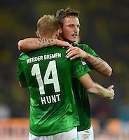 FUSSBALL   1. BUNDESLIGA   SAISON 2012/2013   1. SPIELTAG Borussia Dortmund - SV Werder Bremen                  24.08.2012      Aaron Hunt (li) und Marko Arnautovic (re, beide SV Werder Bremen) jubeln nach dem 1:1