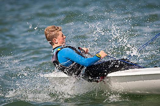 Laser dinghy sailing