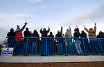 Curzon Ashton v Exeter City, 08/11/2008. FA Cup first round, Tameside Stadium. Curzon Ashton supporters on the uncovered terracing celebrating their team's opening goal against Exeter City during their FA Cup first round tie Tameside Stadium, Ashton-under-Lyne. The home team, who play in the Unibond first division north won the match 3-2 against their opponents from Coca Cola League 2, four divisions above Curzon Ashton. It was the home side's first-ever appearance in the FA Cup proper and their reward for winning the match was an away tie at Conference team Kidderminster Harriers. Photo by Colin McPherson.