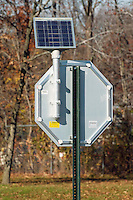 SOLAR POWERED LED STOP SIGN<br /> Solar panel absorbs energy to power flashing LEDs<br /> LED signal motorists to obey stop sign. Solar panel enables sign to operate in the event of loss of electrical power.