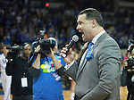 UK head coach Matthew Mitchell addresses the crowd after the UK Hoops vs. Tennessee at Memorial Coliseum in Lexington, Ky., on Sunday, March 3, 2013. Photo by Emily Wuetcher | Staff....