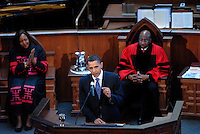 On the eve of King day Senator and Presidential candidate Barack Obama spoke at Ebenezer Baptist Church, the church where Dr. Martin Luther King, Jr preached. He addressed a overflow standing room only crowd which had waited outside in frigid temperatures, January 20, 2008.