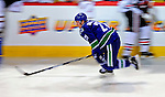 24 January 2009: Vancouver Canucks left wing forward Mason Raymond races the clock during the NHL Faster Skater Event, finishing with a 6th place time of 15.14 seconds, in the NHL SuperSkills Competition, part of the All-Star Weekend at the Bell Centre in Montreal, Quebec, Canada. ***** Editorial Sales Only ***** Mandatory Photo Credit: Ed Wolfstein Photo