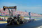 May 6, 2012; Commerce, GA, USA: NHRA top fuel dragster driver Khalid Albalooshi during the Southern Nationals at Atlanta Dragway. Mandatory Credit: Mark J. Rebilas-
