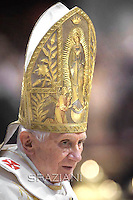 Pope Benedict XVI blesses as he celebrates the solemnity of Mary the Mother of God mass and the 45th World Day of Peace at the Vatican basilica. on January 1, 2012..Notes:.The Pope wears the miter Marian of Pius IX .(Giovanni M. Mastai Ferretti) 1846 - 1878.