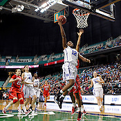 Chelsea Gray makes a layup in the second half. NC State defeated Duke 75-73 during quarter finals of the 2012 ACC Women's Basketball Tournament at the Greensboro Coliseum in Greensboro, NC. Photo by Al Drago.