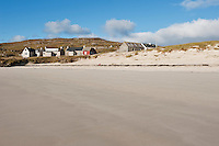 View of houses at Hushinish from beach, Isle of Harris, Outer Hebrides, Scotland
