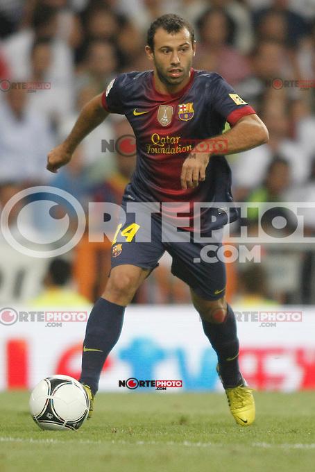 Barcelona's Javier Mascherano during Super Copa of Spain on Agost 29th 2012...Photo:  (ALTERPHOTOS/Ricky) Super Cup match. August 29, 2012. <br />  (foto:ALTERPHOTOS/NortePhoto.com<br /> <br /> **CREDITO*OBLIGATORIO** <br /> *No*Venta*A*Terceros*<br /> *No*Sale*So*third*<br /> *** No*Se*Permite*Hacer*Archivo**<br /> *No*Sale*So*third*