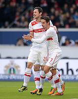 FUSSBALL   1. BUNDESLIGA  SAISON 2012/2013   9. Spieltag   VfB Stuttgart - Eintracht Frankfurt      28.10.2012 JUEBLTaenzchen Stuttgart;Martin Harnik (re) umarmt den Torschuetzen zum 1-0 Christian Gentner
