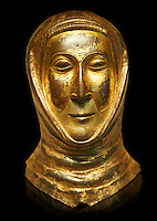 Medieval Gothic gold leaf funerary mask, end of 13th century made in Limoges. AD. From the Priory of Papillaye, Maine et Loire, the death mask came from the tomb of Herbert Lasnier who died in 1290. inv 6485, The Louvre Museum, Paris.