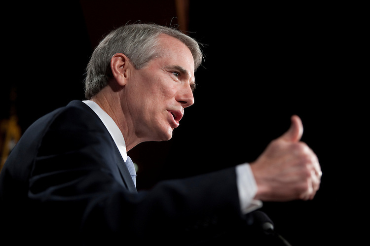 UNITED STATES - SEPTEMBER 7: Sen. Rob Portman, R-Ohio, speaks during a Senate Republican media availability on Wednesday, Sept. 7, 2011, in advance of President Obama's address to discuss trade, jobs and the economy. (Photo By Bill Clark/Roll Call)