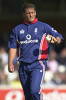 09/07/2002 - Tue.Sport - Cricket-  NatWest Series - Eng vs India Oval.India batting -  Darren Gough checking his grip