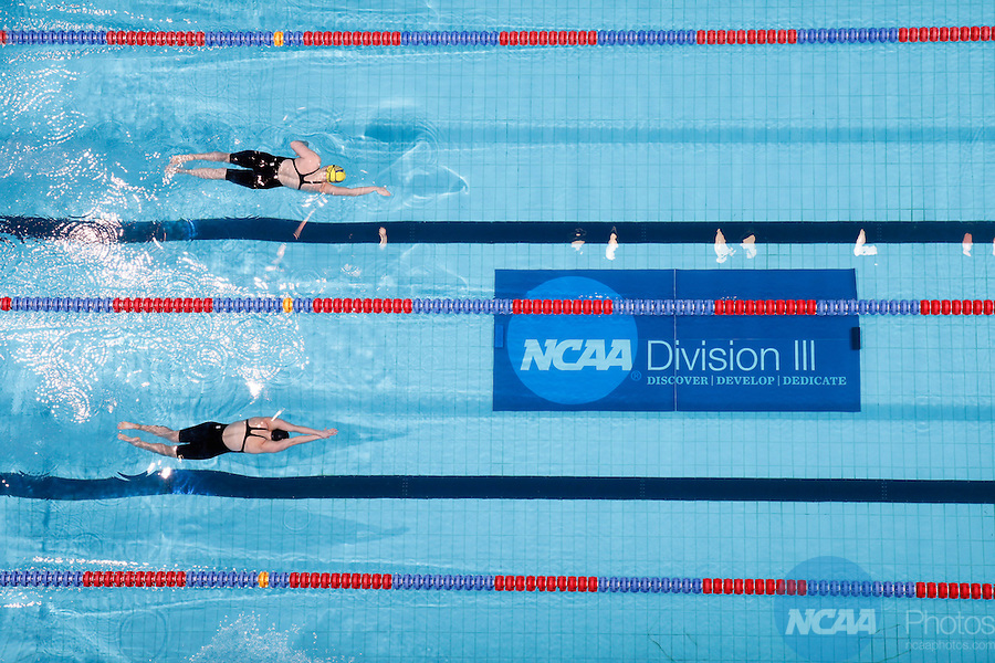 23 MAR 2012: General view of action during the women's 800 yard freestyle relay event during the Division III Men's and Women's Swimming and Diving Championship held at the IU Natatorium in Indianapolis, IN. Williams College won the event with a new NCAA record time of 7:18:15.  Joe Robbins/NCAA