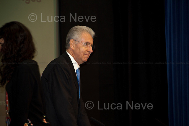Mario Monti (Italian Prime Minister).<br /> <br /> London, 18/01/2012. Today LSE (London School of Economics) presented a public lecture called &quot;The EU in the global economy: challenges for growth&quot; hosted by the Italian Prime Minister, Mario Monti. Chair of the event was Peter Sutherland (Irish international businessman, chairman of Goldman Sachs International and Chair of London School of Economics). Outside the LSE theatre stage of the public lecture protesters gathered to demonstrate against &quot;a bankers&rsquo; Europe&quot;.