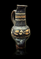 Early 3rd century B.C oenochoe, wine jug, with a trilobata spout, black and overpainted , inv 4380,   National Archaeological Museum Florence, Italy, black background
