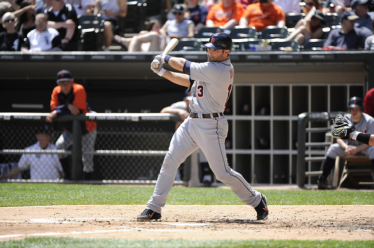 CHICAGO - MAY 15:  Alex Avila #13 of the Detroit Tigers bats against the Chicago White Sox on May 15, 2012 at U.S. Cellular Field in Chicago, Illinois.  The Tigers defeated the White Sox 10-8.  (Photo by Ron Vesely)   Subject:   Alex Avila.