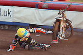 Heat 1: Ty Proctor crashes out - Lakeside Hammers vs Wolverhampton Wolves - Sky Sports Elite League Speedway at Arena Essex Raceway, Purfleet - 24/05/10 - MANDATORY CREDIT: Gavin Ellis/TGSPHOTO - Self billing applies where appropriate - Tel: 0845 094 6026