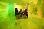 Skiers enjoy a drink and chat at the Ice Experience bar in Hirafu in the Niseko ski region barof Hokkaido, Japan on Feb. 6 2010.