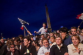 Paris, France.May 6, 2007..Sarkozy supporters rally at The Place de la Concorde. Sarkozy won the French presidential election on today, beating Socialist Segolene Royal with about 53 percent of the vote, according to early projections from polling firms....