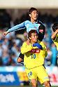 (U to D) Yusuke Tanaka (Frontale), Yu Hasegawa (Montedio), MARCH 5, 2011 - Football : 2011 J.LEAGUE Division 1 between Kawasaki Frontale 2-0 Montedio Yamagata at Kawasaki Todoroki Stadium, Kanagawa, Japan. (Photo by YUTAKA/AFLO SPORT) [1040]