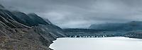 Moody evening at Tasman Glacier and its lake, Aoraki, Mt. Cook National Park, Mackenzie Country, UNESCO World Heritage Area, New Zealand, NZ