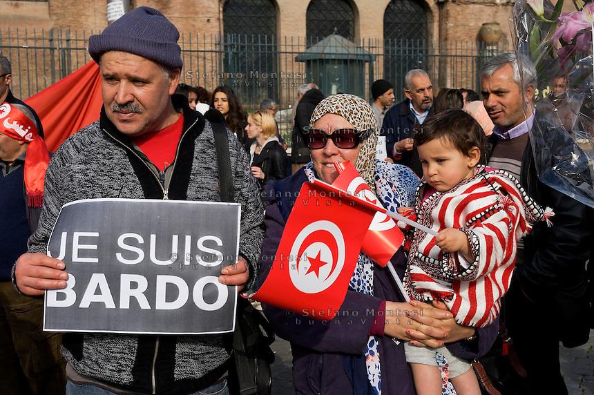 Roma 21 Marzo 2015<br /> Manifestazione della comunit&agrave; tunisina di Roma, in piazza della Repubblica, per condannare  l&rsquo;attentato da parte di terroristi islamici, al museo Bardo di Tunisi e per esprimere solidariet&agrave; alle famiglie delle vittime.<br /> Rome March 21, 2015<br /> Demostration of the Tunisian community of Rome, in Piazza della Repubblica,for condemn the attack by Islamic terrorists, the Bardo Museum in Tunis and to express solidarity with the families of the victims.