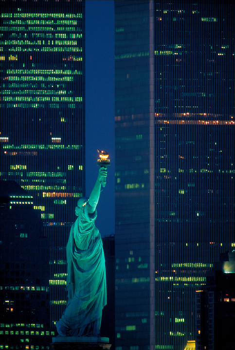 Statue of Liberty, NYC, NY, Twin Towers