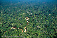 Meandering river in lowland tropical rainforest, Tambopata Reserve, Madre de Dios, Peru.