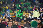 Oct. 13, 2012; Students celebrate on the field after Notre Dame defeated Stanford 20 to 13 in overtime. Photo by Barbara Johnston/University of Notre Dame