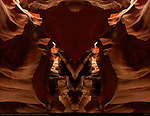 Bison Skull and Fractal Entrance, Fractal Composite, Upper Antelope Canyon, Tse-Bighanilini, Slot Canyon, Lake Powell Navajo Tribal Park, Page, Arizona