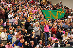 13 February 2011: University of Vermont Catamount basketball fans cheers on the team as they face the Binghamton University Bearcats at Patrick Gymnasium in Burlington, Vermont. The Catamounts came from behind to defeat the Bearcats 60-51 in their America East matchup. The Cats took part in the National Pink Zone Breast Cancer Awareness Program by wearing special white jerseys with pink trim. The jerseys were auctioned off following the game with proceeds going to the Vermont Cancer Center. Mandatory Credit: Ed Wolfstein Photo
