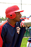 19 March 2006: Brandon Watson, outfielder for the Washington Nationals, looks into the batting cage prior to a Spring Training game against the Los Angeles Dodgers at Holeman Stadium, in Vero Beach, Florida. The Dodgers defeated the Nationals 9-1 in Grapefruit League play...Mandatory Photo Credit: Ed Wolfstein Photo..