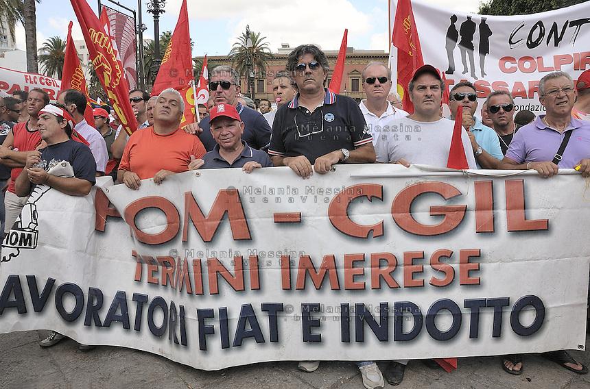 Palermo: general strike by trade unionist CGIL, Fiat workers.<br /> Palermo: sciopero generale indetto dalla CGIL, operai della Fiat di Termini Imerese